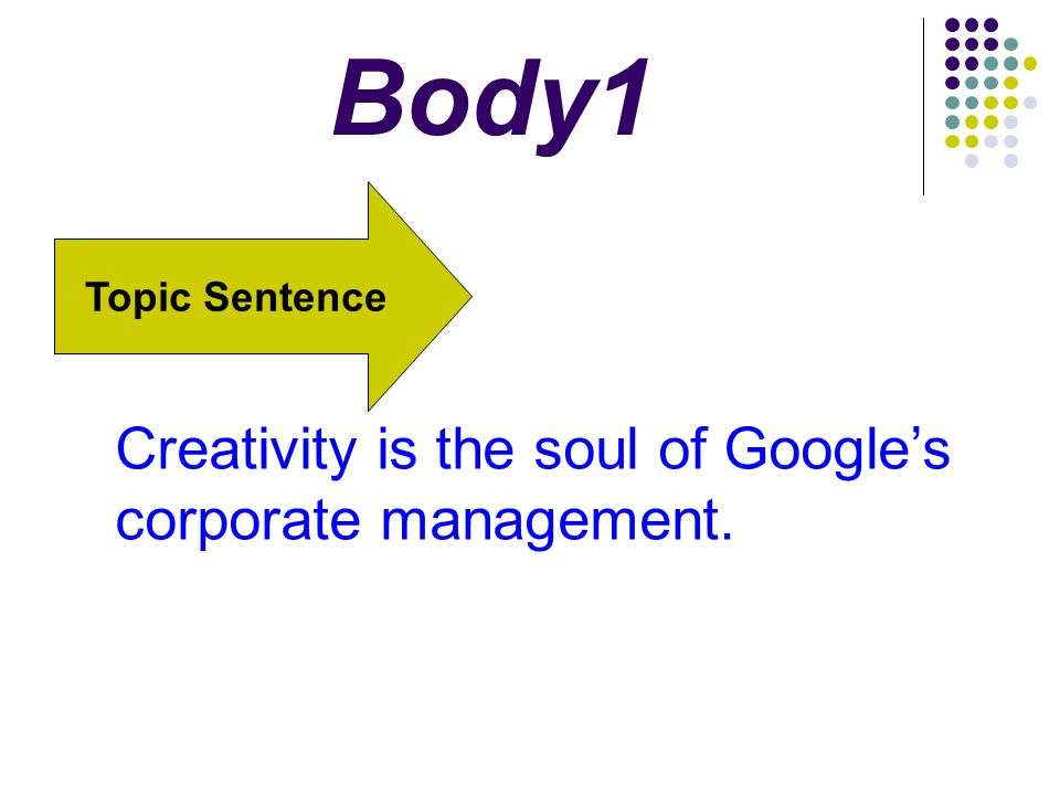 Body1 Creativity is the soul of Google's corporate management.
