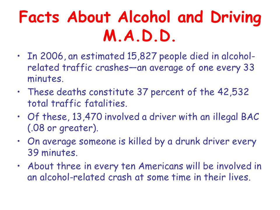 Facts About Alcohol and Driving M.A.D.D.