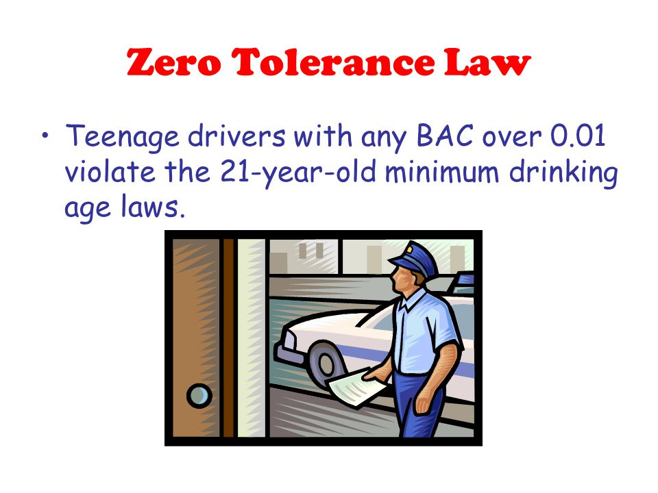 Zero Tolerance Law Teenage drivers with any BAC over 0.01 violate the 21-year-old minimum drinking age laws.