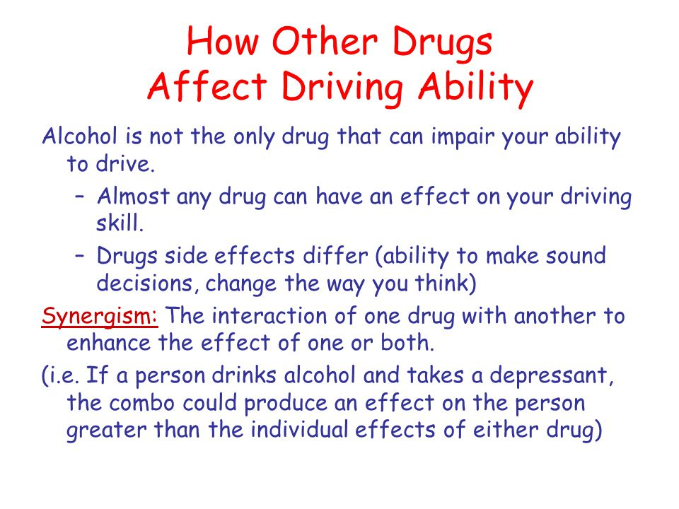 How Other Drugs Affect Driving Ability