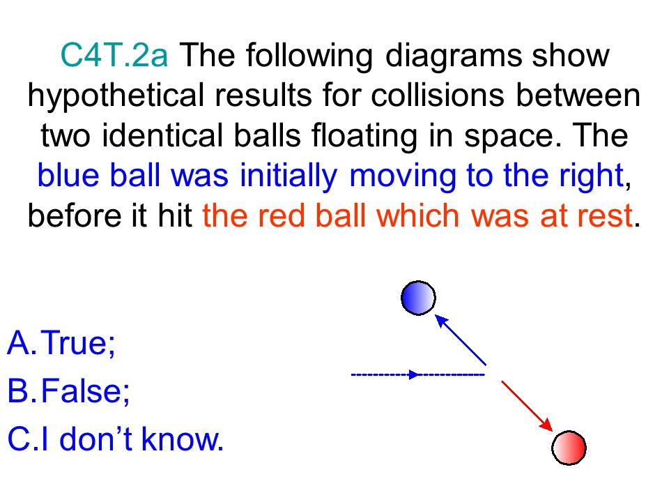 C4T.2a The following diagrams show hypothetical results for collisions between two identical balls floating in space. The blue ball was initially moving to the right, before it hit the red ball which was at rest.