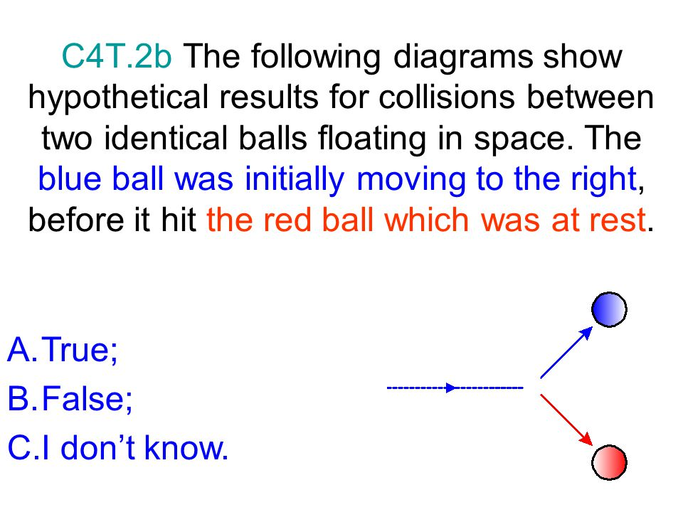 C4T.2b The following diagrams show hypothetical results for collisions between two identical balls floating in space. The blue ball was initially moving to the right, before it hit the red ball which was at rest.