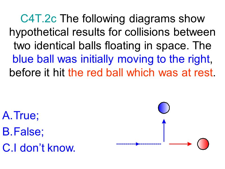 C4T.2c The following diagrams show hypothetical results for collisions between two identical balls floating in space. The blue ball was initially moving to the right, before it hit the red ball which was at rest.