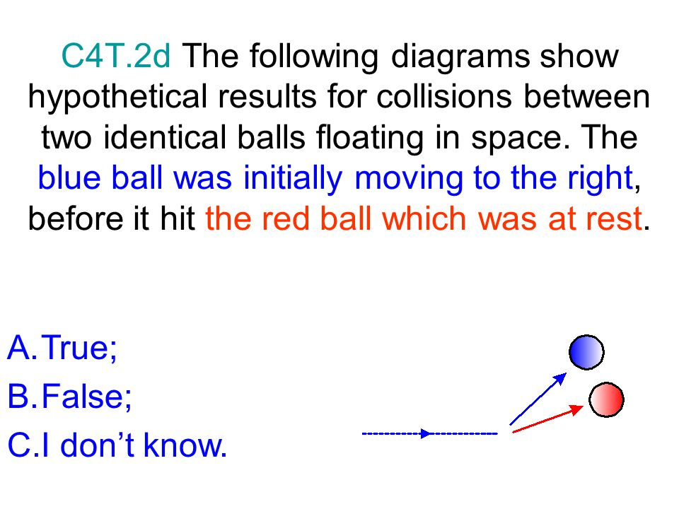 C4T.2d The following diagrams show hypothetical results for collisions between two identical balls floating in space. The blue ball was initially moving to the right, before it hit the red ball which was at rest.