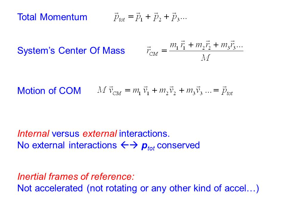 Total Momentum System's Center Of Mass. Motion of COM. Internal versus external interactions. No external interactions  ptot conserved.