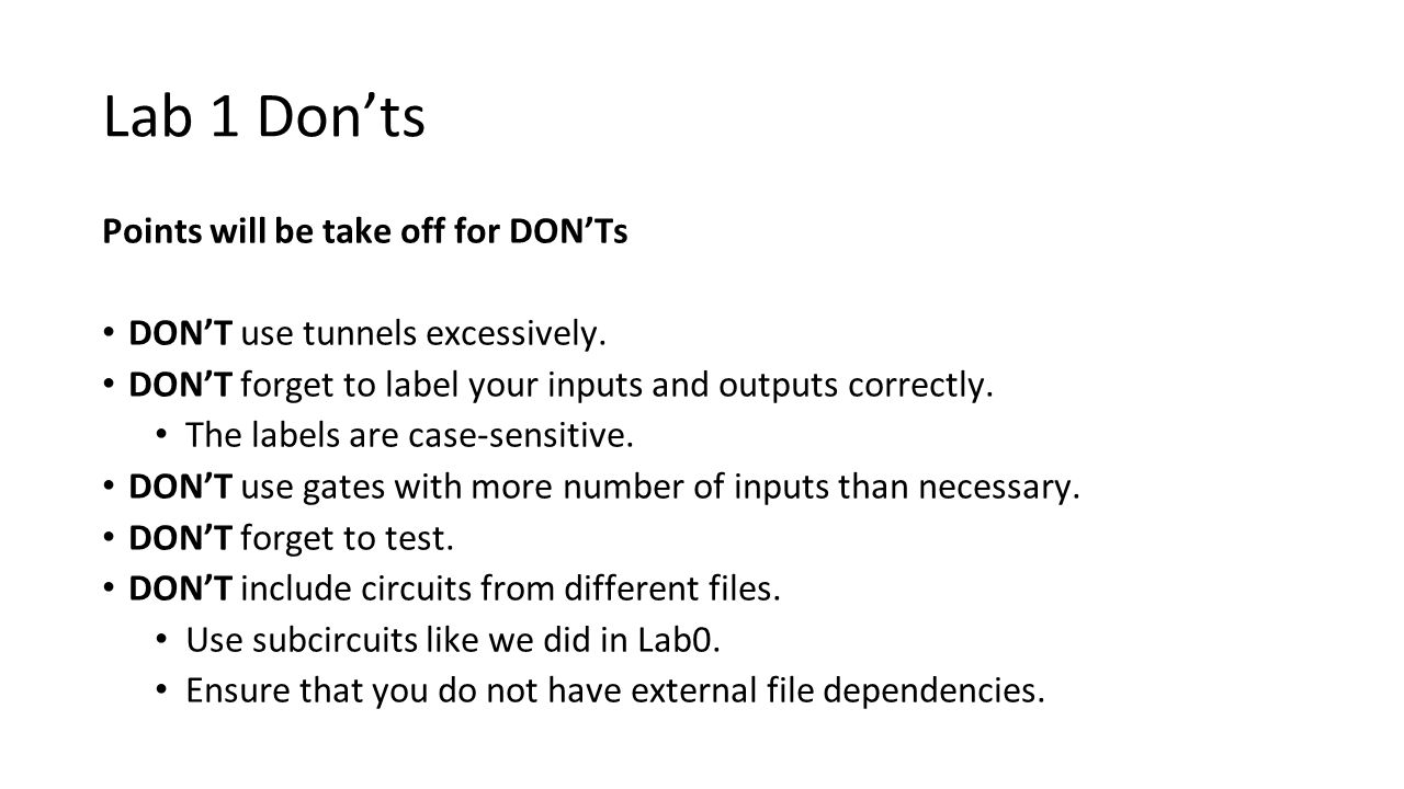 Lab 1 Don'ts Points will be take off for DON'Ts
