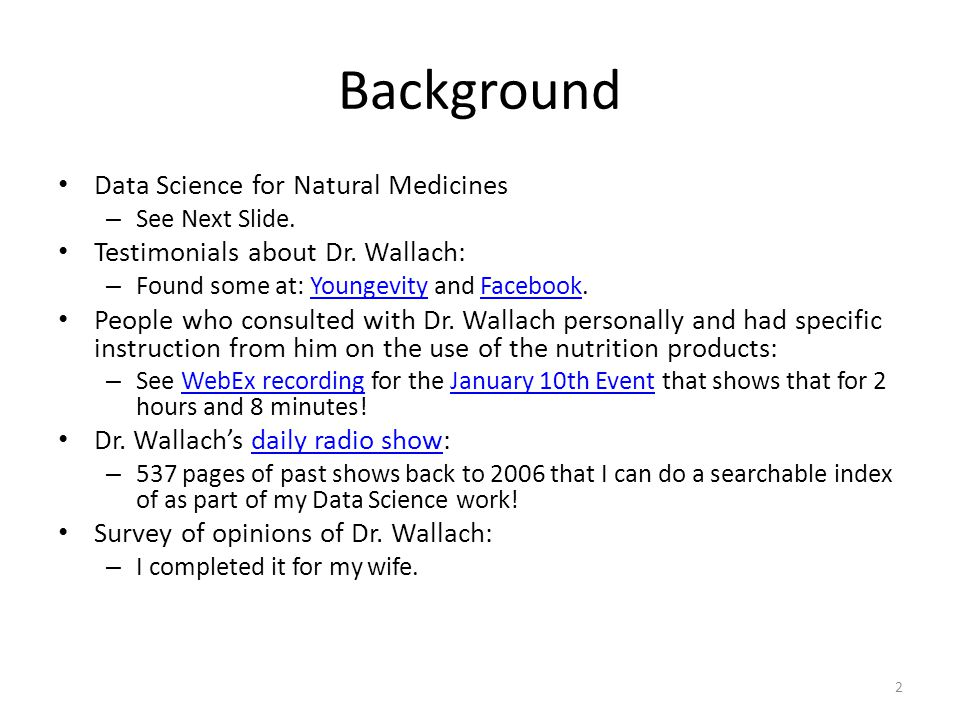 Background Data Science for Natural Medicines