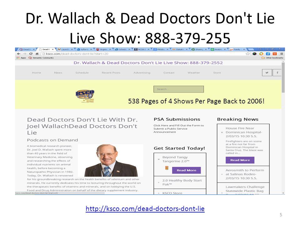 Dr. Wallach & Dead Doctors Don t Lie Live Show: 888-379-255