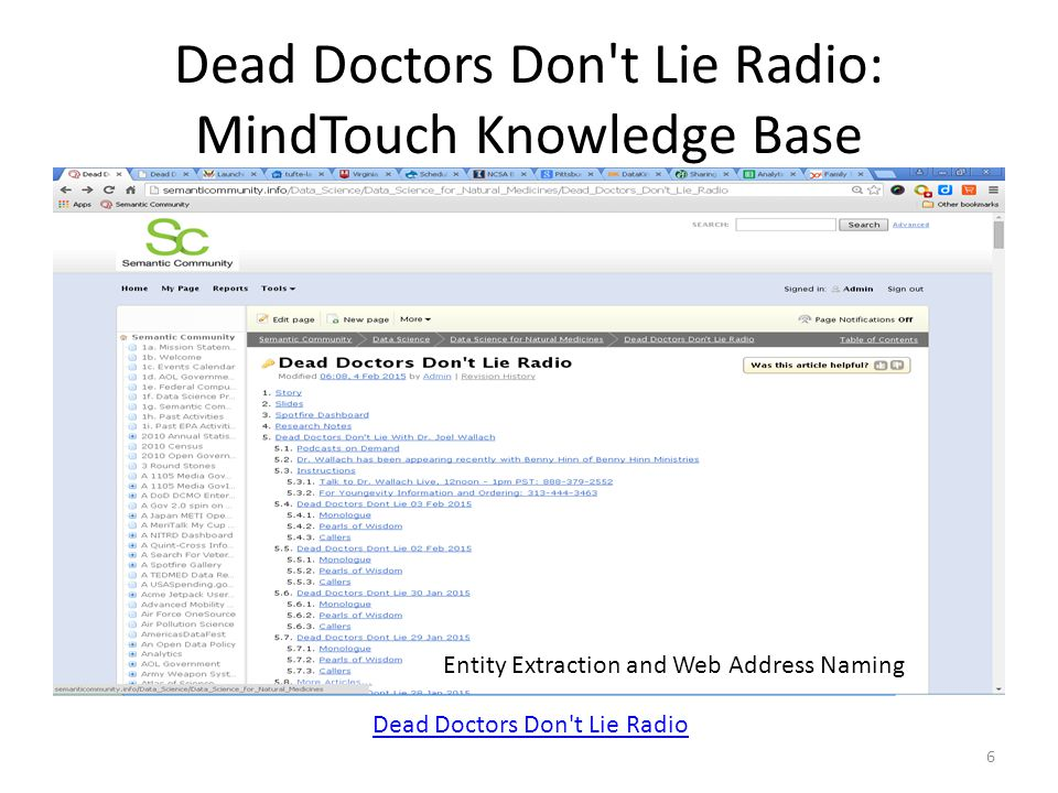 Dead Doctors Don t Lie Radio: MindTouch Knowledge Base