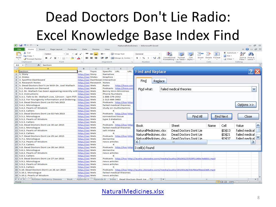 Dead Doctors Don t Lie Radio: Excel Knowledge Base Index Find