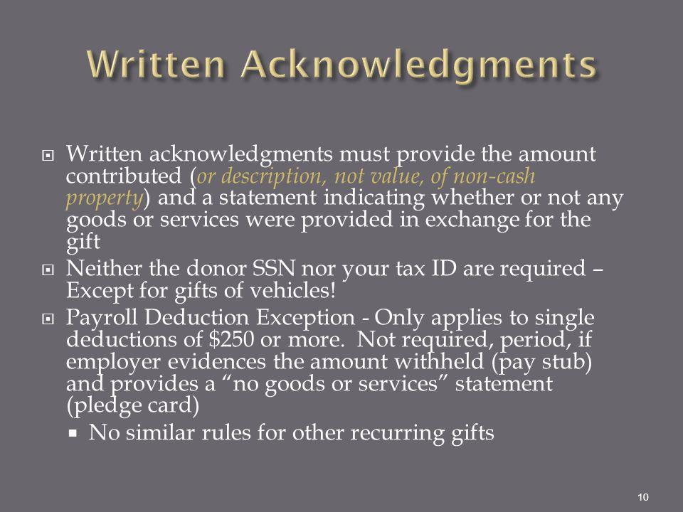 Written Acknowledgments