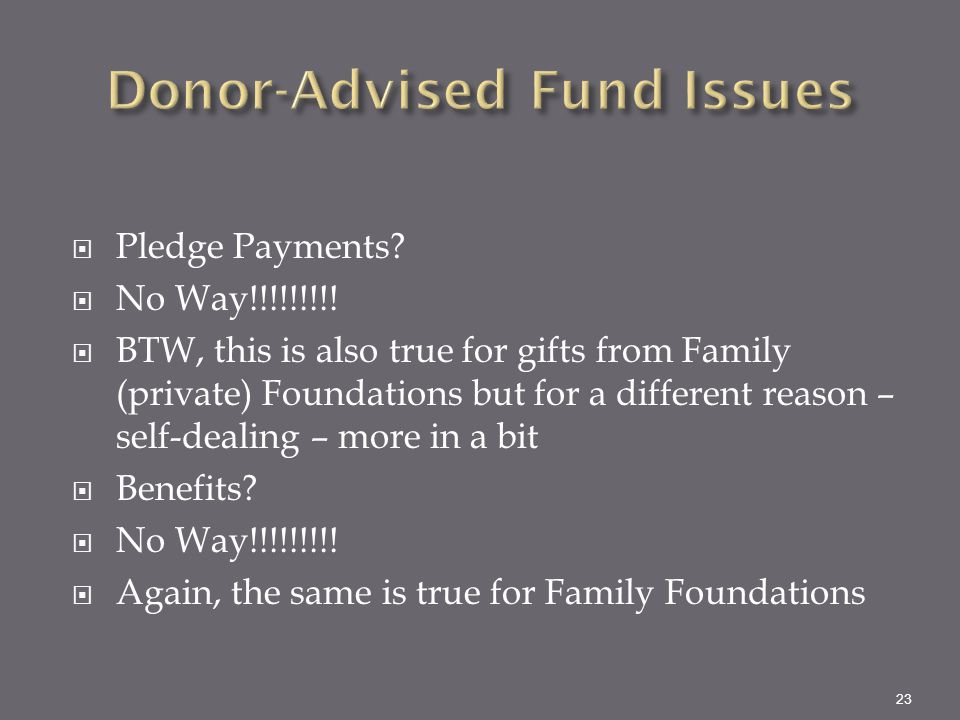 Donor-Advised Fund Issues