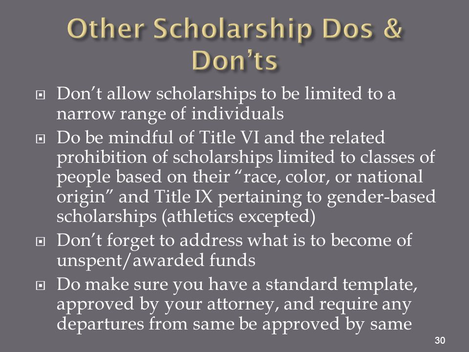 Other Scholarship Dos & Don'ts
