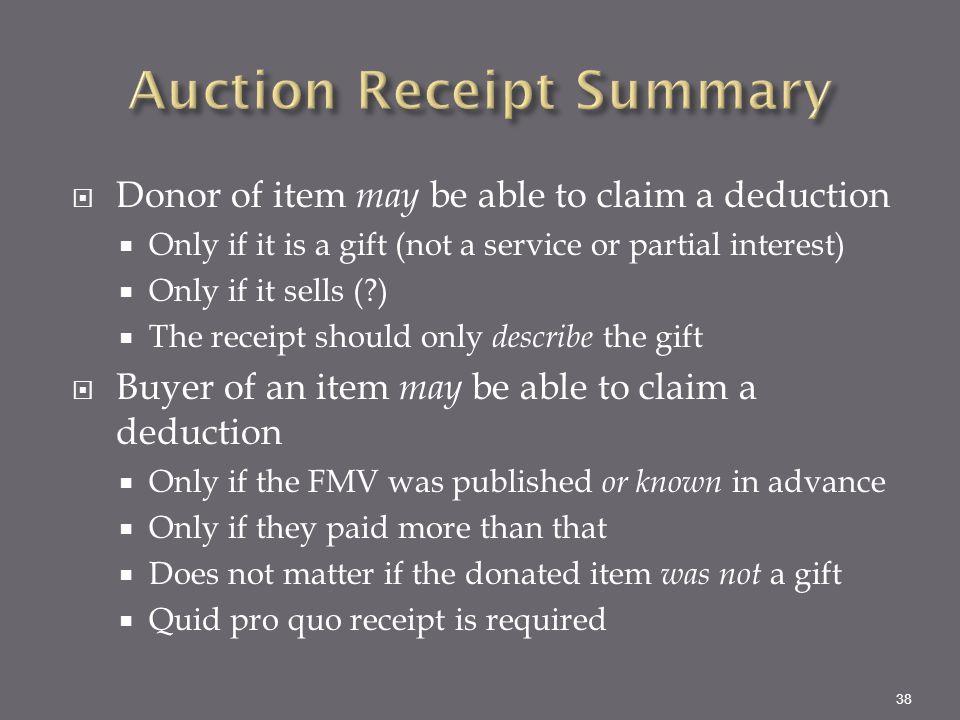 Auction Receipt Summary