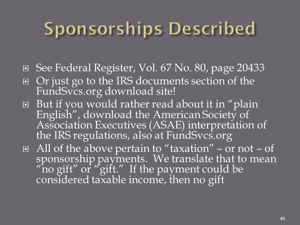 Sponsorships Described