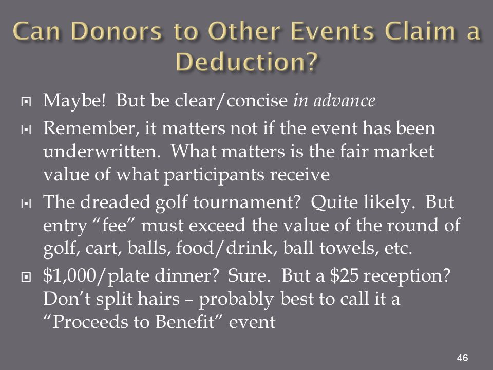 Can Donors to Other Events Claim a Deduction