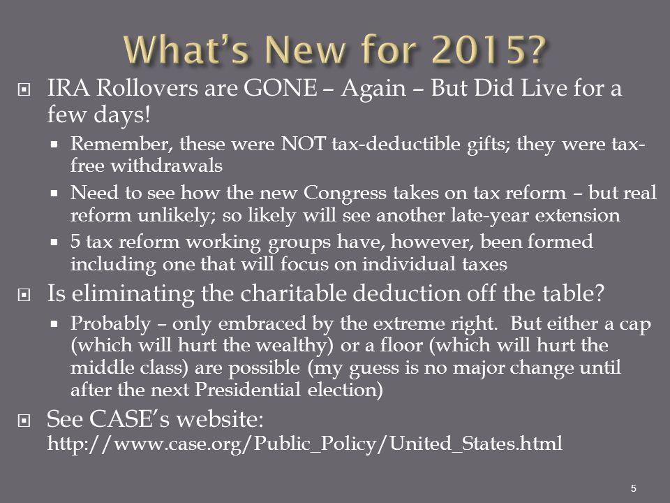 What's New for 2015 IRA Rollovers are GONE – Again – But Did Live for a few days!