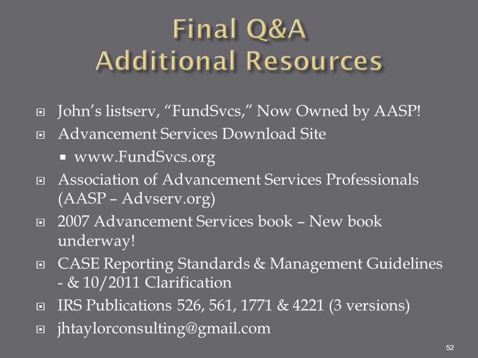 Final Q&A Additional Resources