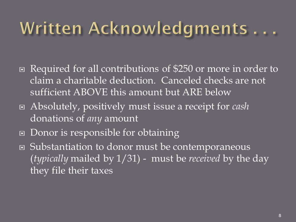 Written Acknowledgments . . .