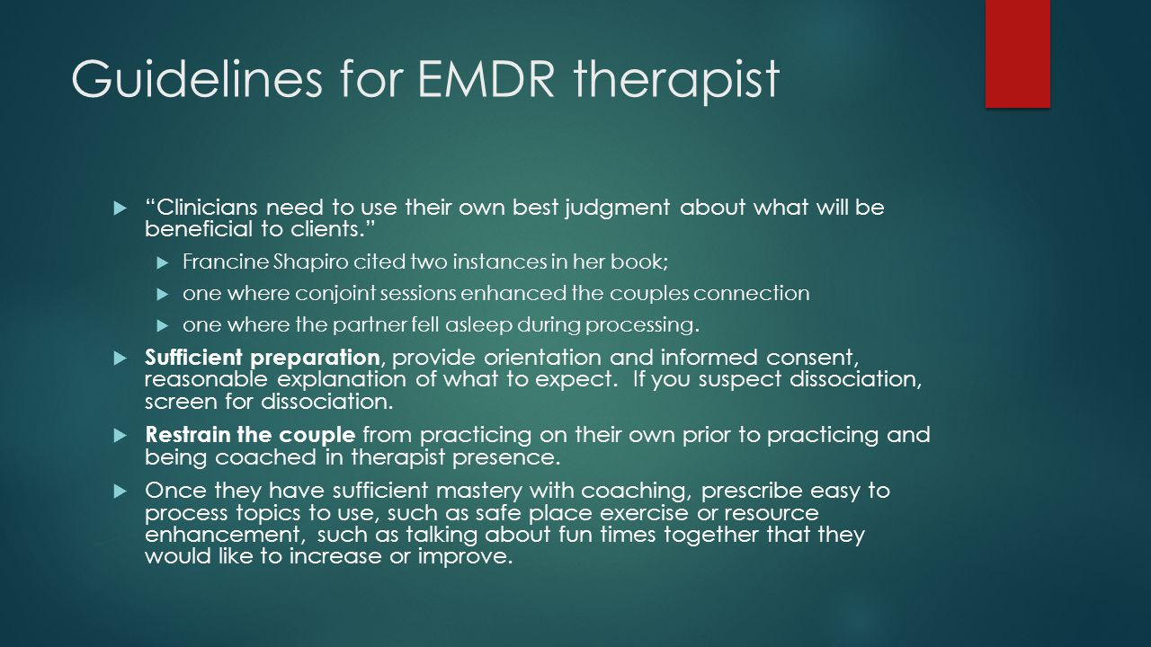 Guidelines for EMDR therapist