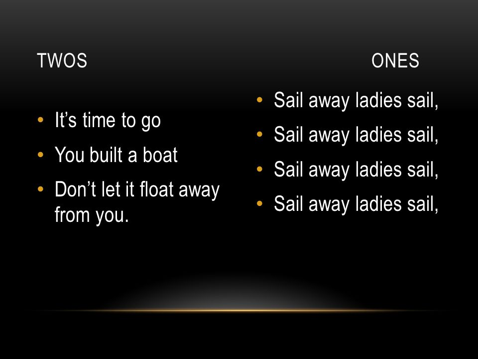 Don't let it float away from you. Sail away ladies sail,