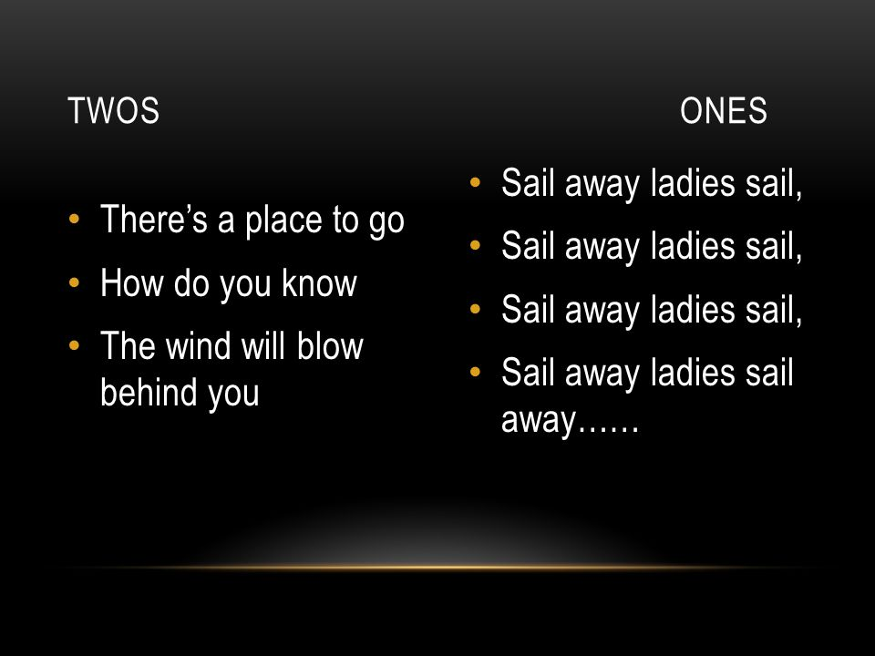 The wind will blow behind you Sail away ladies sail,