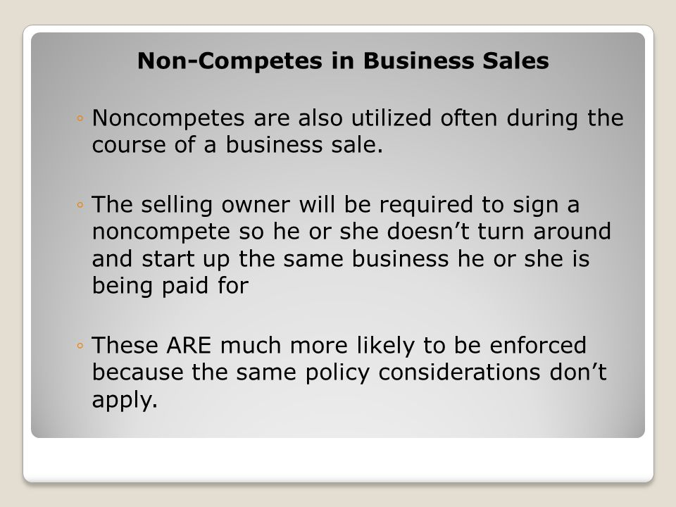 Non-Competes in Business Sales