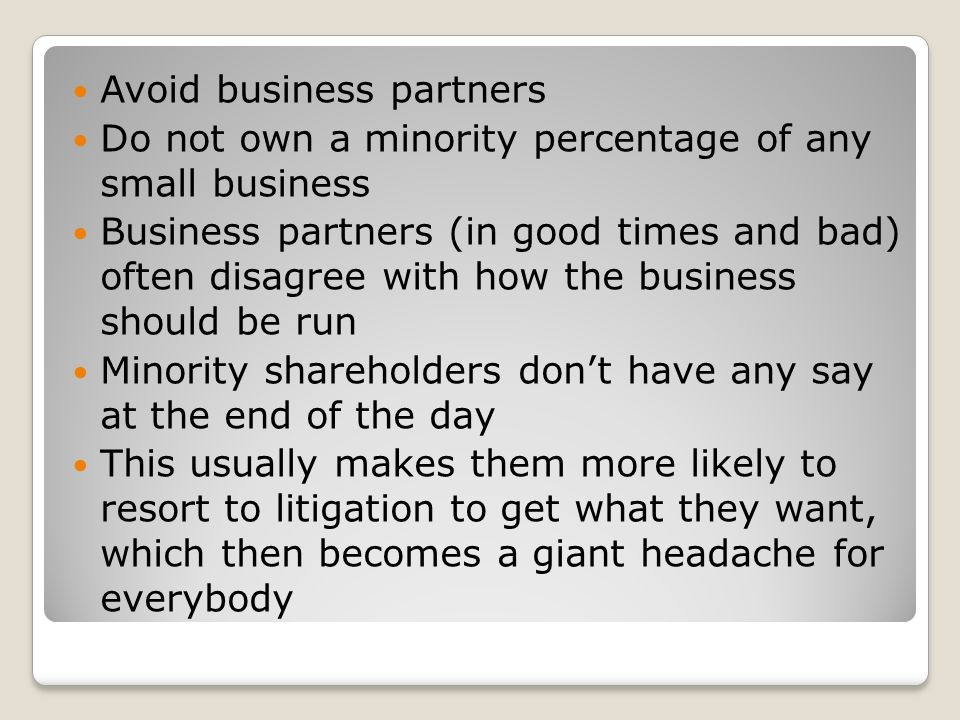 Avoid business partners