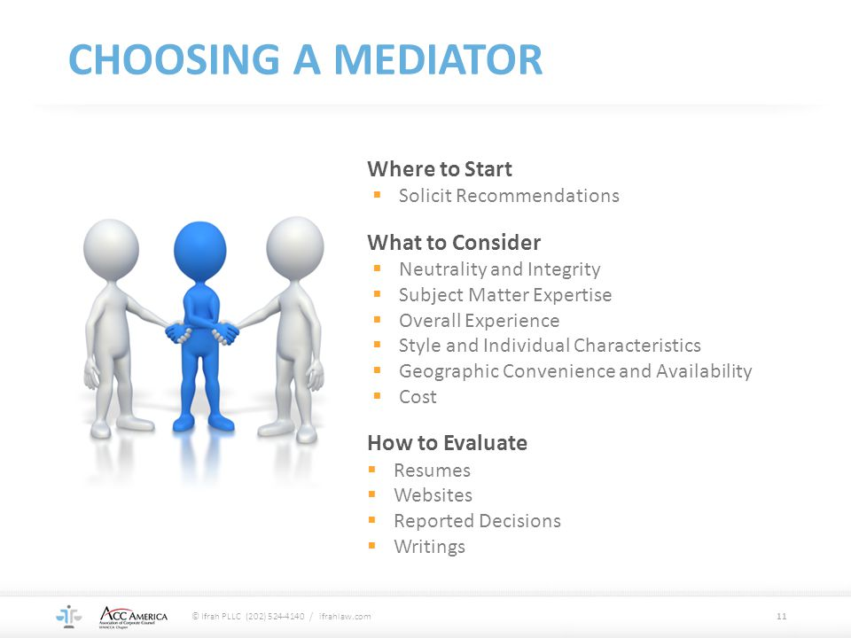 CHOOSING A MEDIATOR Where to Start What to Consider How to Evaluate