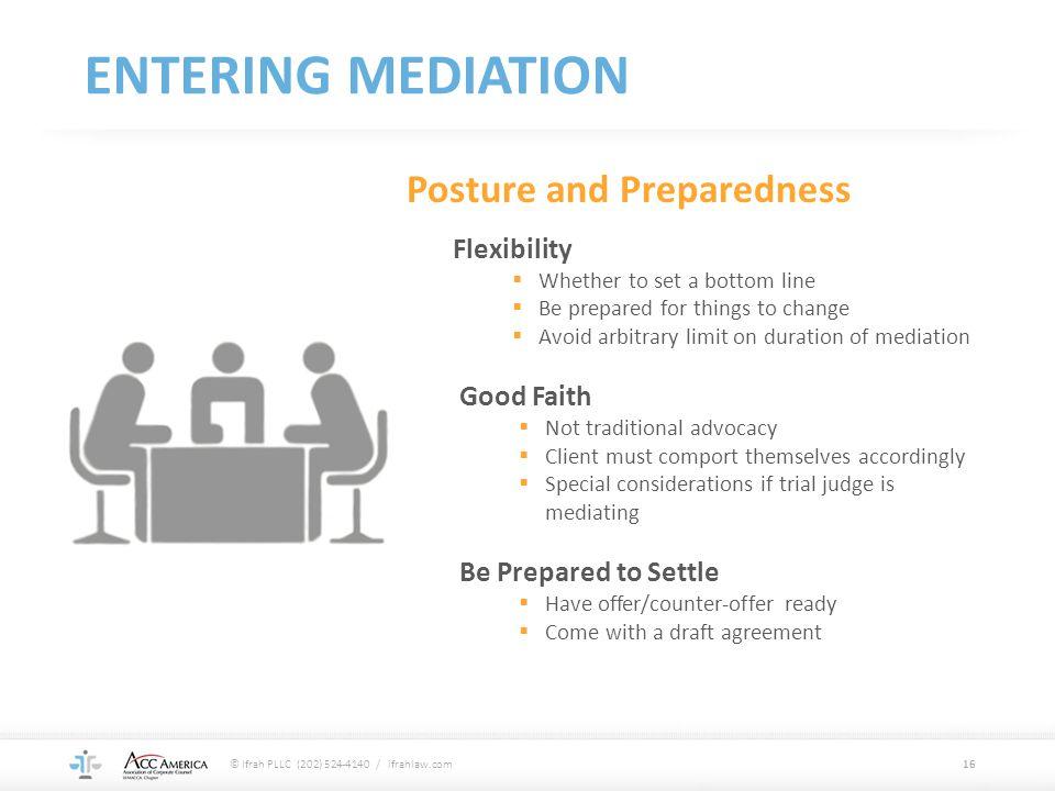 Entering mediation Posture and Preparedness Flexibility Good Faith