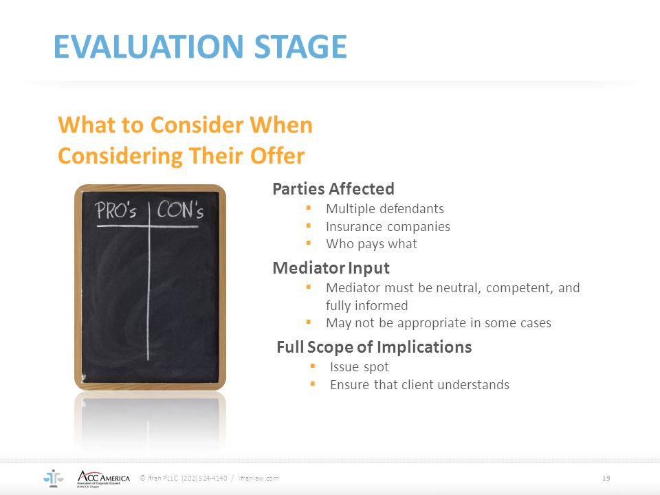 EVALUATION STAGE What to Consider When Considering Their Offer