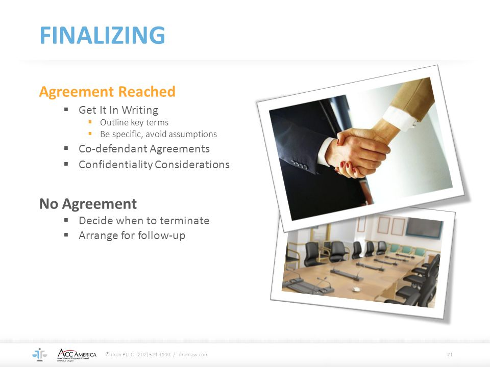 FINALIZING Agreement Reached No Agreement Get It In Writing