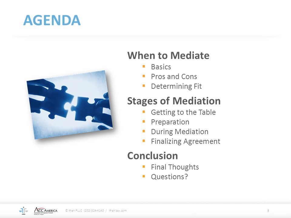 AGENDA When to Mediate Stages of Mediation Conclusion Basics