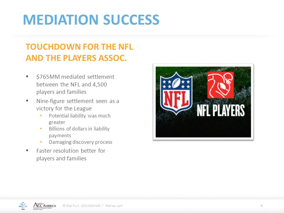 MEDIATION SUCCESS TOUCHDOWN FOR THE NFL AND THE PLAYERS ASSOC.