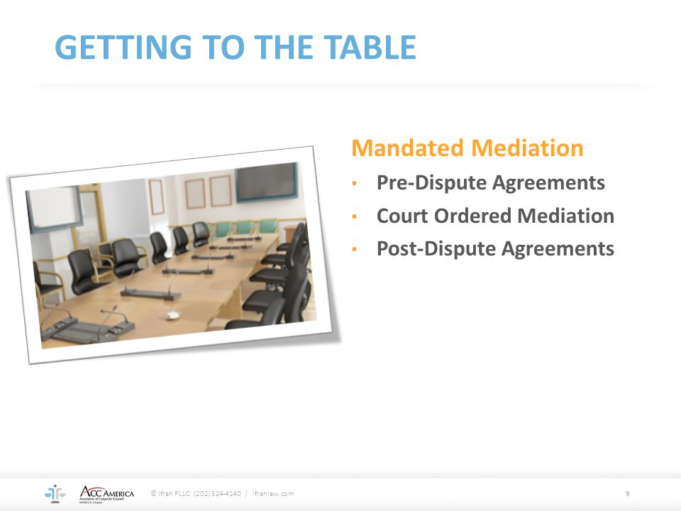 GETTING TO THE TABLE Mandated Mediation Pre-Dispute Agreements