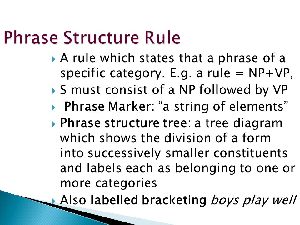 Phrase Structure Rule A rule which states that a phrase of a specific category. E.g. a rule = NP+VP,