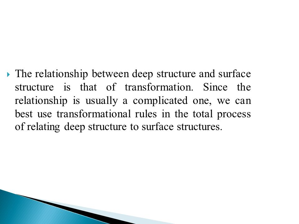 The relationship between deep structure and surface structure is that of transformation.