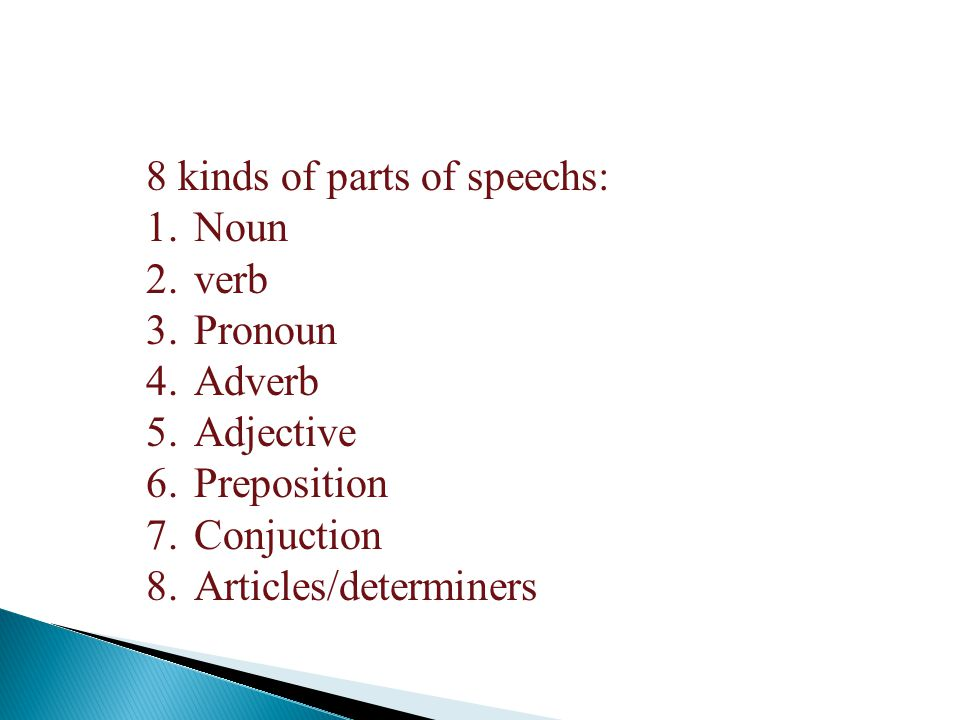 8 kinds of parts of speechs: