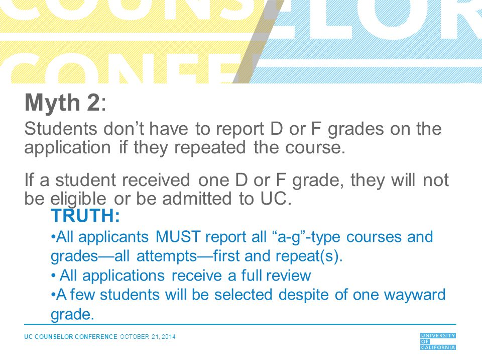 Myth 2: Students don't have to report D or F grades on the application if they repeated the course.