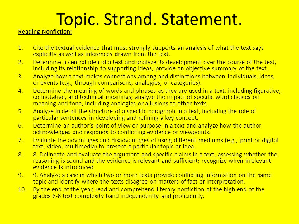 Topic. Strand. Statement.