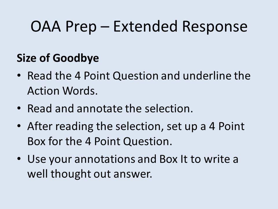 OAA Prep – Extended Response