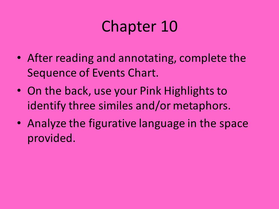 Chapter 10 After reading and annotating, complete the Sequence of Events Chart.
