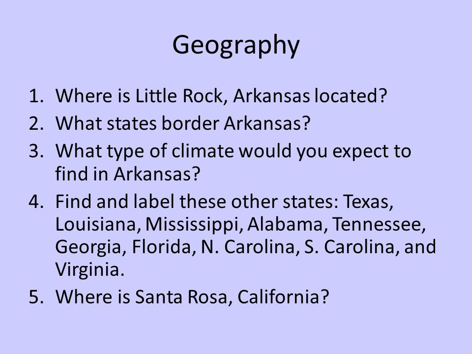 Geography Where is Little Rock, Arkansas located