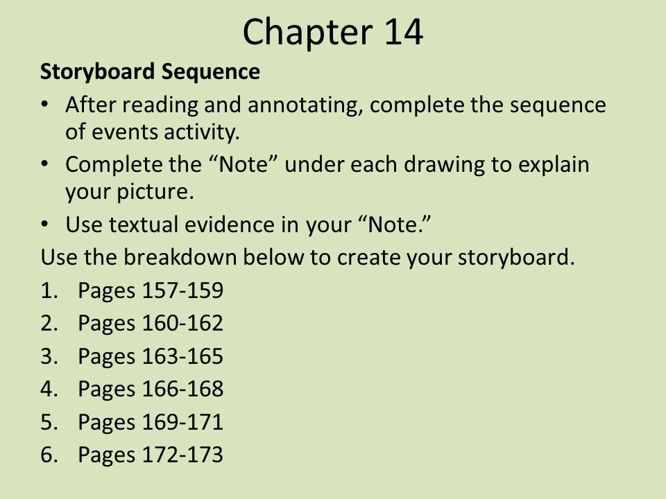 Chapter 14 Storyboard Sequence