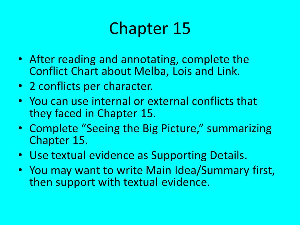 Chapter 15 After reading and annotating, complete the Conflict Chart about Melba, Lois and Link. 2 conflicts per character.