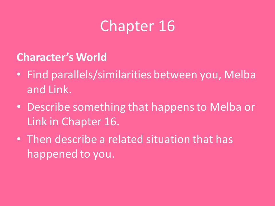 Chapter 16 Character's World