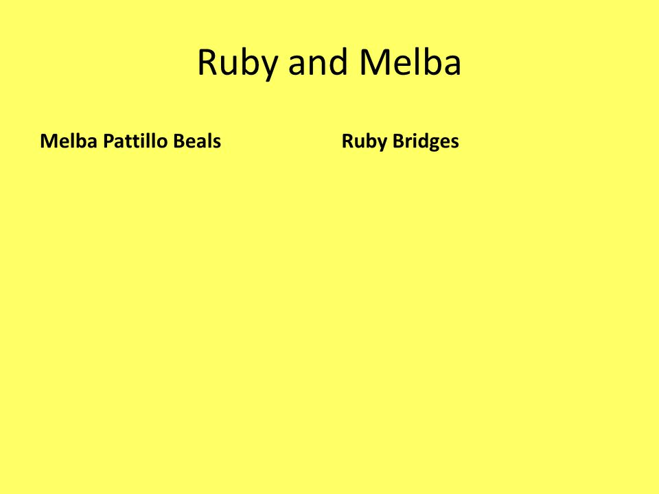Ruby and Melba Melba Pattillo Beals Ruby Bridges