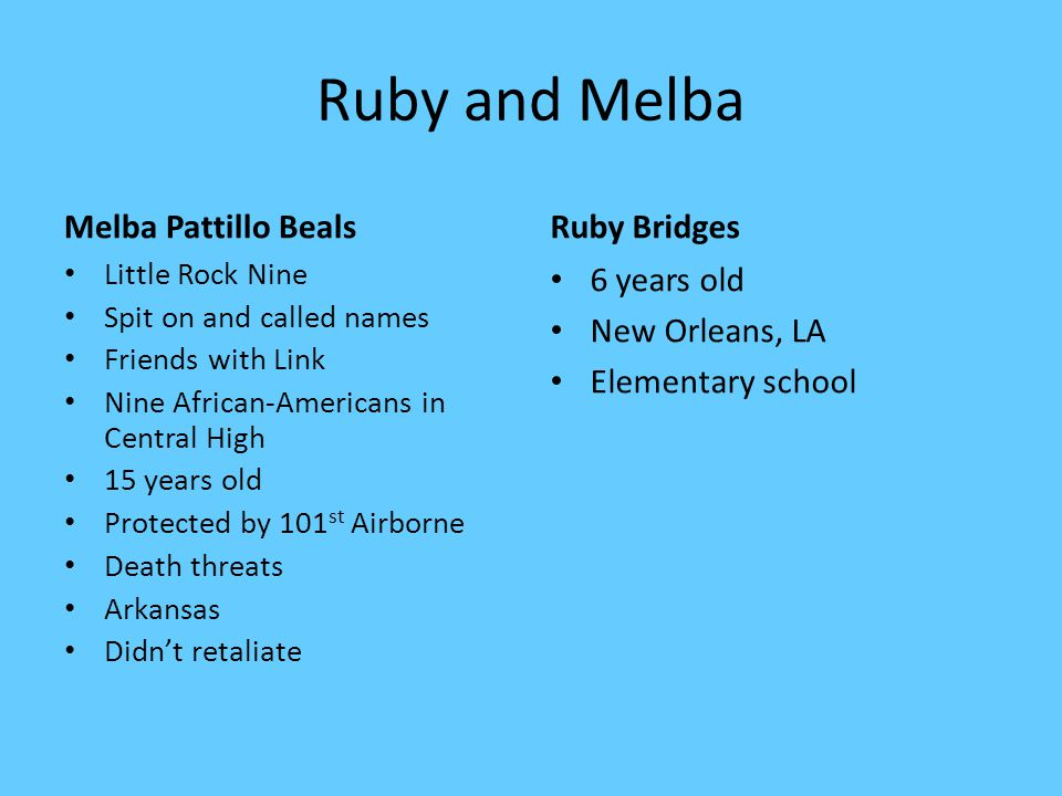 Ruby and Melba Melba Pattillo Beals Ruby Bridges 6 years old