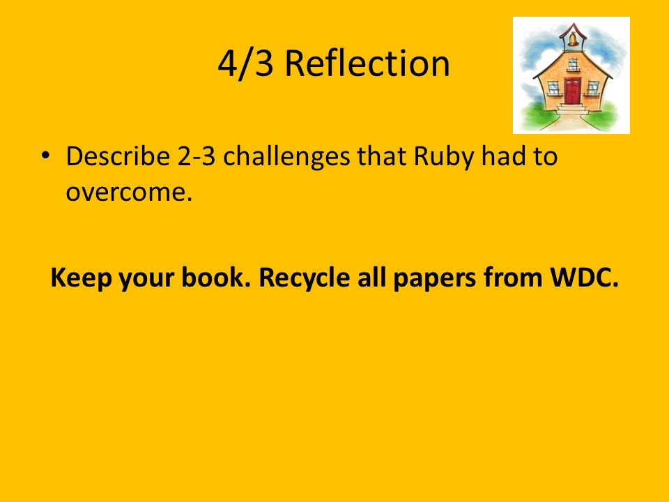 Keep your book. Recycle all papers from WDC.