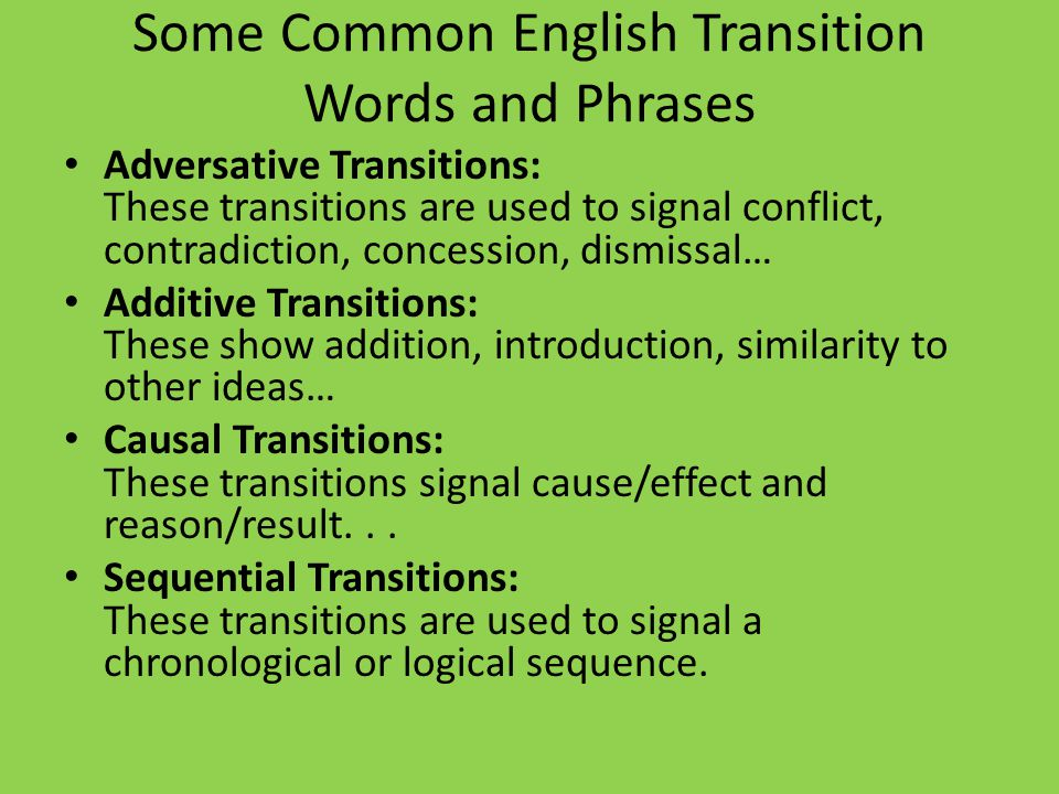 Some Common English Transition Words and Phrases